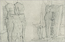 Drawing of Boundary Stela A and its statues made by an artist in the Robert Hay expedition of 1827, after Davies 1908, Pl. XLIII