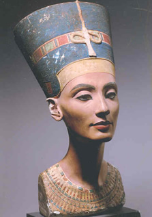 The painted bust of queen Nefertiti, found at Amarna in 1912, is currently in the Berlin Museums