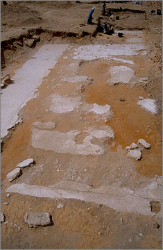 Gypsum foundation layer at the South Shrine, viewed towards the west