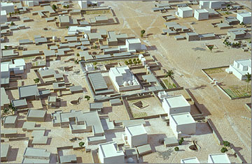 Model of part of the residential area of the Main City. One of the main thoroughfares passes across the picture towards the right of the picture