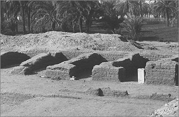 The western line of storerooms in the altar court. The piece of stone door jamb bore the name of the princess Meritaten