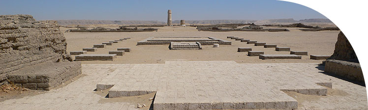 View along the axis of the Small Aten Temple in the Central City, towards the valley in the cliffs that leads to the Royal Tomb