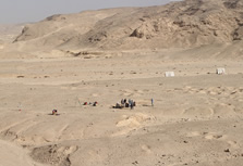 A view facing north across the wadi showing the three areas excavated in 2015.