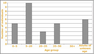 Figure 33. Age groups represented in the 2007 South Tombs Cemetery excavations