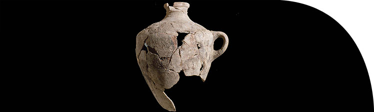 A Canaanite amphora restored from fragments.