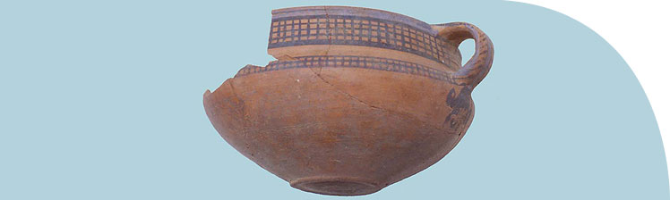 Painted pottery bowl from the 1987 excavations in house P46.33. The diameter is about 20 cm.