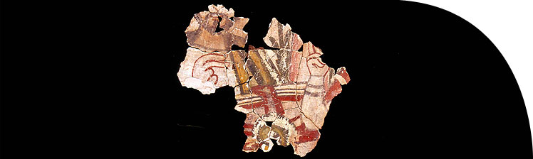Refitted fragments of painted wall plaster from the Kom el-Nana church, depicting saints giving benediction.