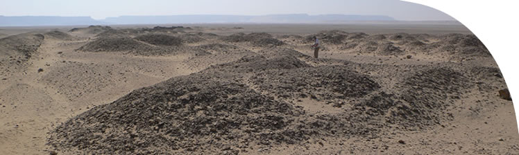 The dumps of broken stone and potsherds that lie south of the Great Aten Temple, viewed to the east. Many fragments of statues have been found amongst them.