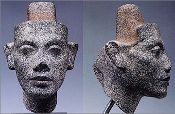 The original head of Nefertiti from the dyad above, now in Berlin (image from D. Arnold, 2004. The Royal Women of Amarna: Images of Beauty from Ancient Egypt, New York, figs 72, 74.)