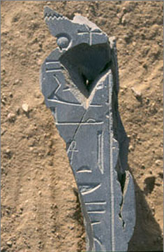 Fragments of a statue of Akhenaten in greywacke, from the South House Dump. They form part of the back-pillar, the hieroglyphs providing Akhenaten's epithet: 'who lives on truth'.