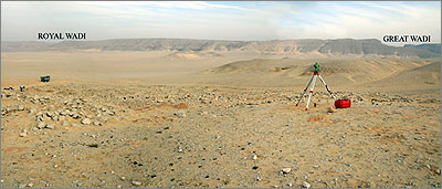 View from Stone Village to the cliffs of the high desert in the east. The entrances of the Royal and Great Wadis are highly visible from the site.