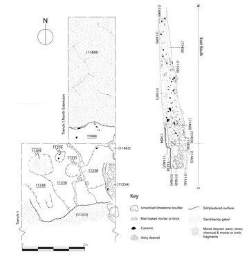 Final top plan of the northern extension to Trench 1