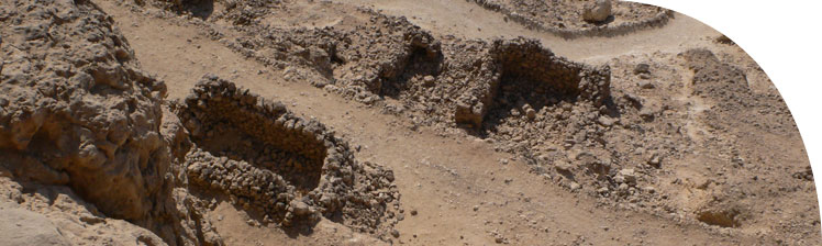 Stone huts from an early Christian community near tomb no. 6 (Panehsy)