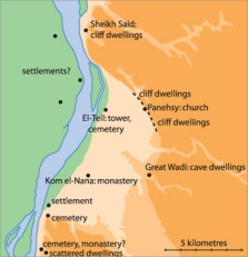 Map of the Amarna area showing early Christian sites identified by archaeology. The lines of the river banks and cultivation on the east side are those of the late 19th century AD, as mapped by the Napoleonic expedition.